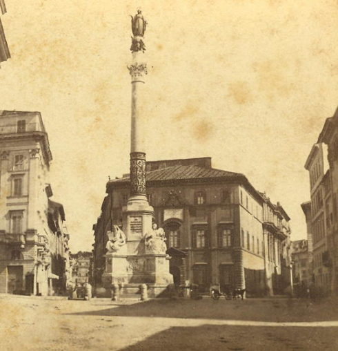The column, which still stands today, was dedicated to the proclamation of the Dogma of the Immaculate Conception under the pontificate of Pope Pius IX.