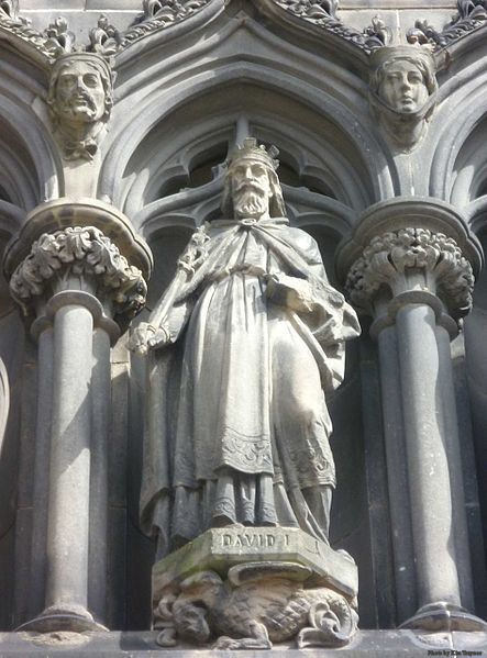 St. David I of Scotland, son of St. Margaret. Statue on the West Door of St. Giles High Kirk, Edinburgh.