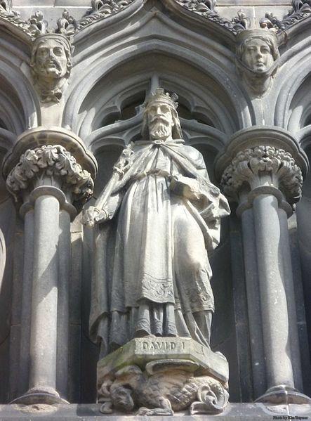 St. David I of Scotland, son of St. Margaret. Statue on the West Door of St. Giles High Kirk, Edinburgh.