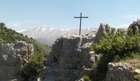 Taken from the north side of the Qadisha Valley and on the western outskirts of Blaouza or Blawza, looking southeast over the valley towards Mount Lebanon.