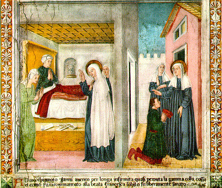 St. Frances curing the gangrenous leg of Janni, who had been ill a long time. On the right, Janni is thanking St. Frances. One of a series of frescoes in the Monastery of Tor de' Specchi in Rome, featuring stories of the life of St. Frances of Rome painted by Antoniazzo Romano.