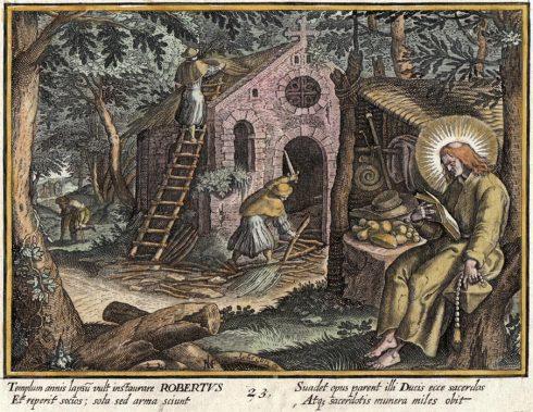 St. Robert print by Raphael Sadeler & Marten de Vos