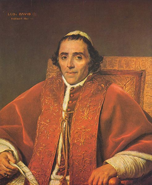Portrait of Pope Pius VII painted by Jacques-Louis David