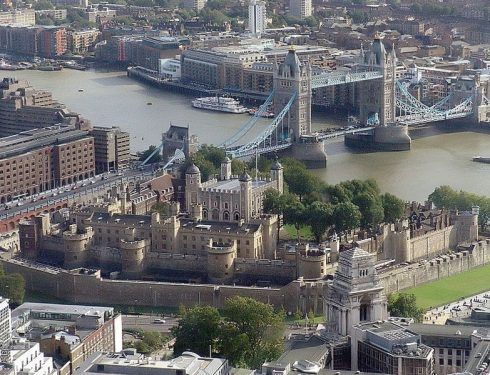 An aerial view of the Tower of London. Bl. Margaret Pole is buried inside the Royal Chapel of St Peter ad Vincula, which is at the first tower (of the five towers on the outerwall) on the right.