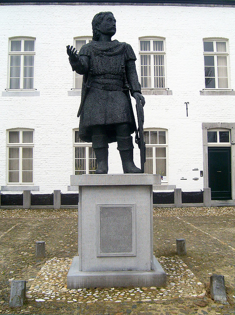 Statue of St. Ansfried of Utrecht in the square next to St. Michael's church of Thorn in the Netherlands. The Church is usually called Abdijkerk Thorn.