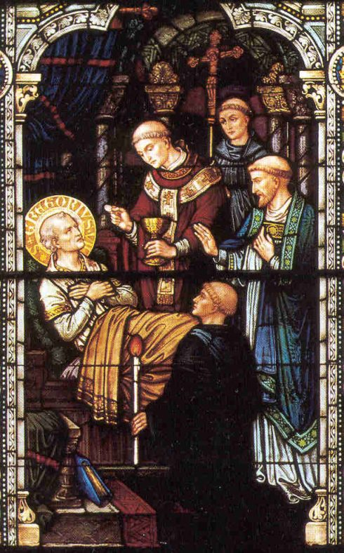 Stained Glass window of the death of Pope St. Gregory VII