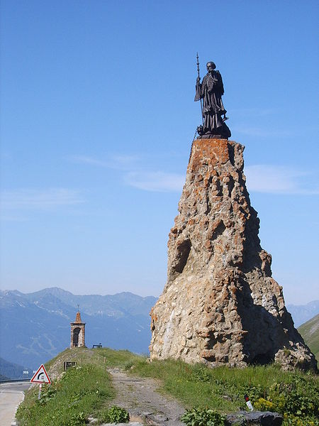 Statue of St. Bernard at the Little St Bernard Pass.