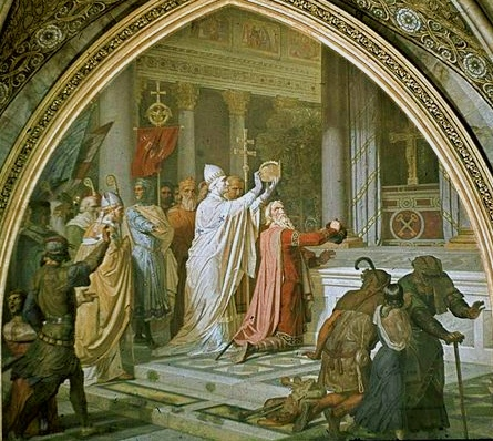 Pope St. Leo III crowning Charlemagne Painting by Josef Kehren