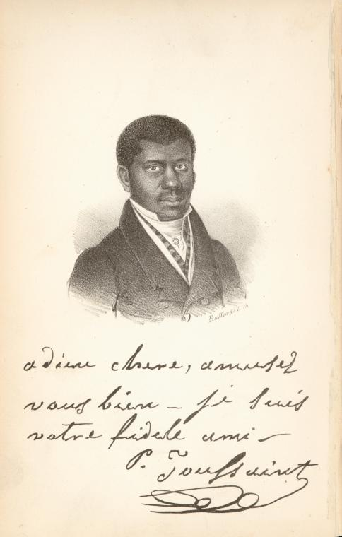 Portrait of Pierre Toussaint with autograph