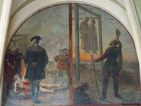 Two Carthusians Monks are being hung, while another Monk was cut down while still alive to be disembowelled and then quartered.