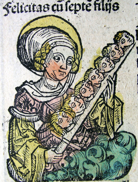 St. Felicitas with her Seven Sons. Illustration from the Nuremberg Chronicle, by Hartmann Schedel (1440-1514)