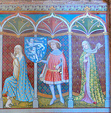 Second part of mural: Count Rapoto of Abenbergs' wife Sophia, Rapoto a squire and Mechthild.