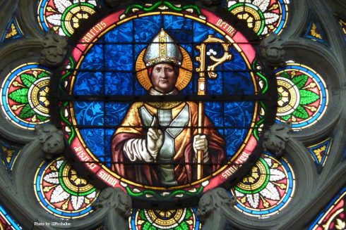 Stained glass window of Saint-Germain-l'Auxerrois in Paris.