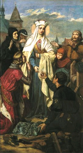Painting by Florian Cynk of the Miner presenting the engament ring to the Queen.