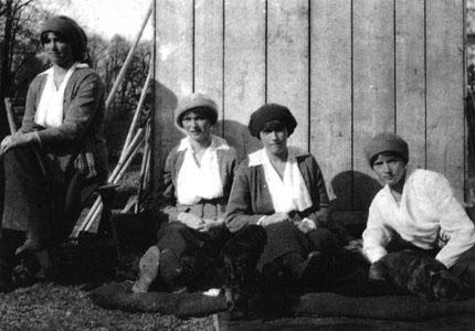 L to R: A photograph of Grand Duchesses Olga, Tatiana, Maria and Anastasia Nikolaevna of Russia in prison shortly before their murders. They were the last to die.