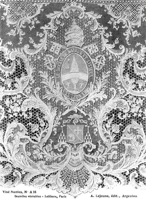Intricate lace panel made by Blessed Zelie Martin and offered to Pope Leo XIII for his Jubilee. Click image to view larger image.