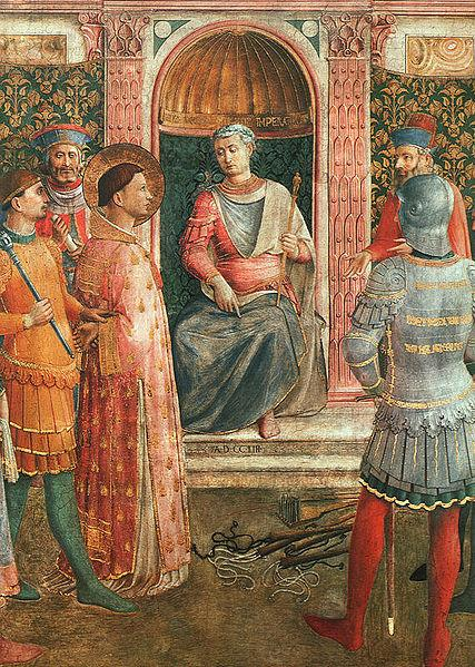 St. Lawrence before Valerianus. Painting by Bl. Fra Angelico