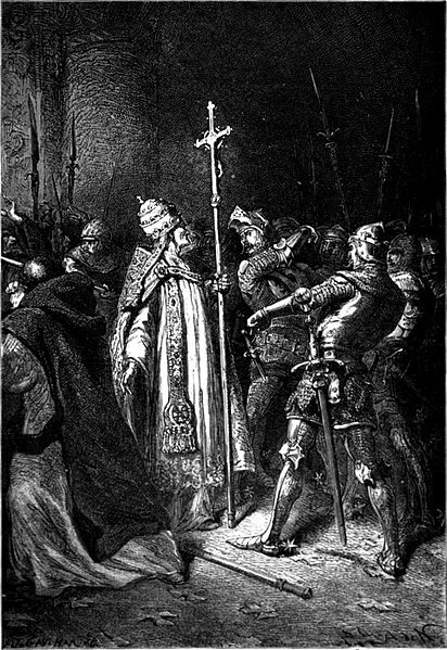 Sciarra Colonna slapping Pope Boniface VIII in the face.