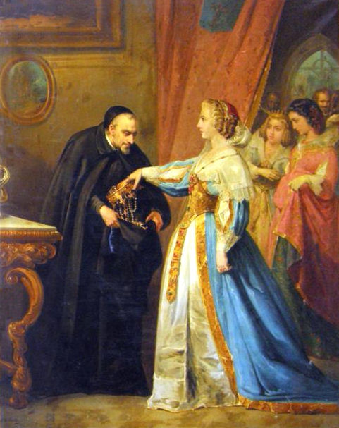 Spanish born Queen of France Anne of Austria gives crown and jewels to St. Vincent de Paul painting by JM Rodriguez de Losada