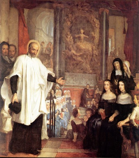 St. Vincent de Paul with the Ladies of Charity, painting by Louis Galloche 1732.