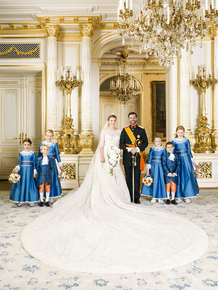 In this handout image provided by the Grand-Ducal Court of Luxembourg, Princess Stephanie of Luxembourg and Prince Guillaume of Luxembourg pose with Miss Isaure de le Court, Countess Louise de Lannoy, Mr Lancelot de le Court, Countess Caroline de Lannoy, Miss Madeleine Hamilton and Mr Gabriel de Luxembourg for an official photo inside the Grand-Ducal Palace after their wedding ceremony at the Cathedral of our Lady of Luxembourg on October 20, 2012 in Luxembourg.