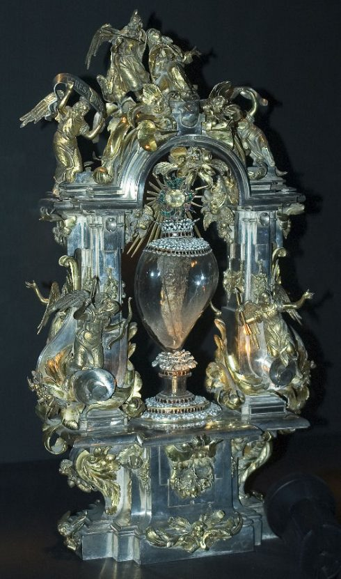 Her incorrupt heart, which was pierced with an arrow. Her body was exhumed several times after her death, and each time the body was found incorrupt, firm, and sweet-smelling. Her heart, hands, right foot, right arm, left eye and part of her jaw are on display in various sites around the world.