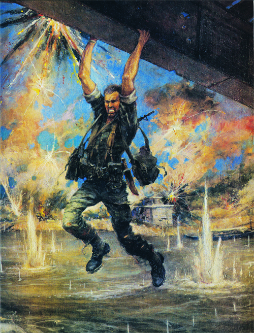 Painting by Col. Charles Waterhouse of Col. John Ripley dangling above Cua Viet River as Angry North Vietnamese soldiers fire upon him.