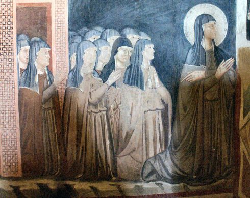 Fresco of Saint Clare and nuns of her Order, Chapel of San Damiano, Assisi
