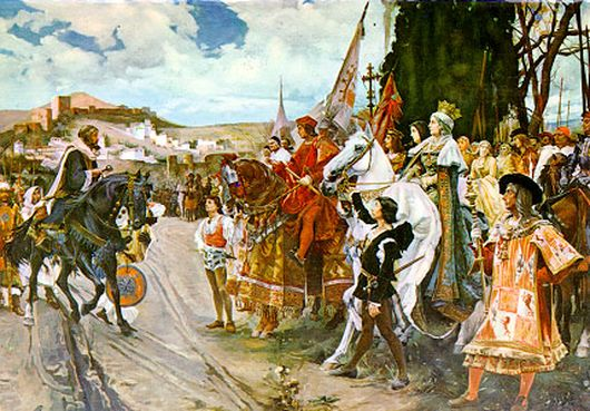 The Capitulation of Granada, Painting by Francisco Pradilla y Ortiz. Boabdil gives the keys of the city to King Ferdinand and Queen Isabella