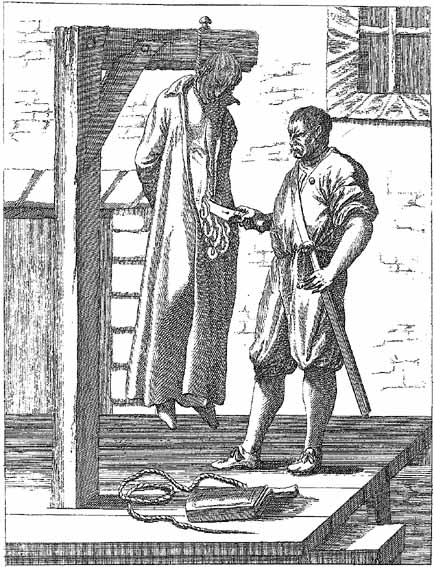 Hung, Drawn and Quartered. This barbaric form of execution, popular during the reign of Elizabeth I, where they are hanged till they are almost dead, cut down, and quartered alive; after that, their members and bowels are cut from their bodies, and thrown into a fire.
