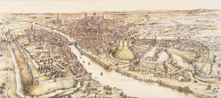 A panoramic view of York in the 15th century. Watercolour by E. Ridsdale Tate