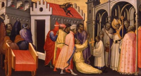 Saint Hugh of Lincoln exorcizes a possessed, painted by Gherardo di Starnina