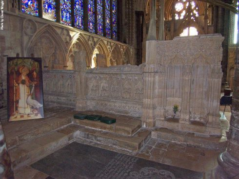 The tomb of of Saint Hugh inside Lincoln Cathedral, situated at the East end of the Angel choir, to the North side of the area below the great East window. In 1540, Henry VIII ordered all jewels, silver and gold, including the gold that covered the head of St. Hugh, to be confiscated and taken to the Tower of London.