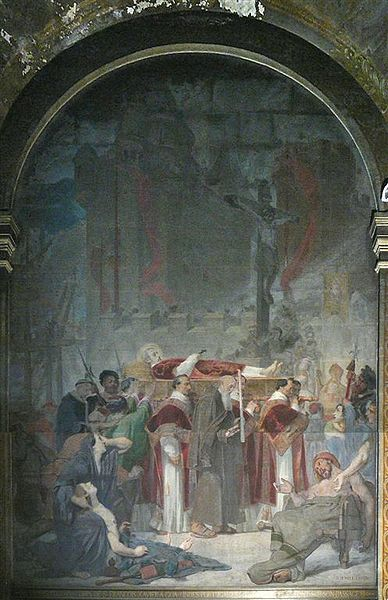 "Painting of ""Transposition of Saint Francis Xavier"" in St Sulpice church. Painted by Jacques-Emile Lafon in 1859."