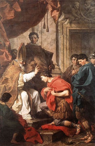 St Ambrose accepting a repentant Theodosius