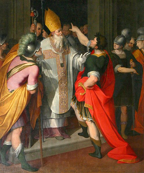 St Ambrose Stopping Theodosius from entering the Church. For his responsibility for a massacre at Thessalonika in 390, the emperor Theodosius was excommunicated by St. Ambrose until he had public penance. The emperor is shown on the church steps surrounded by his courtiers. St. Ambrose forbids him to enter.