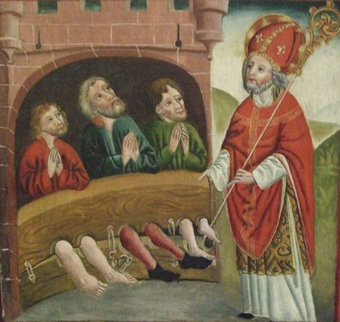 St. Nicholas saves the lives of three innocent knights who were to be beheaded by order of the Emperor.