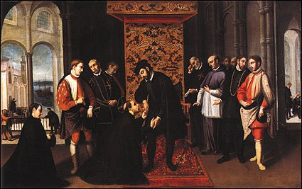 St. Francisco Xavier asking King John III of Portugal for an expedition.