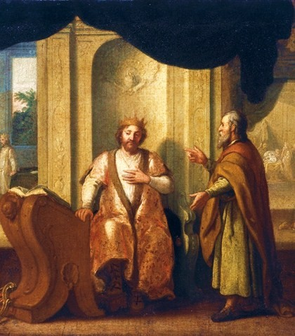 The Prophet Nathan advises King David. Painting by Matthias Scheits