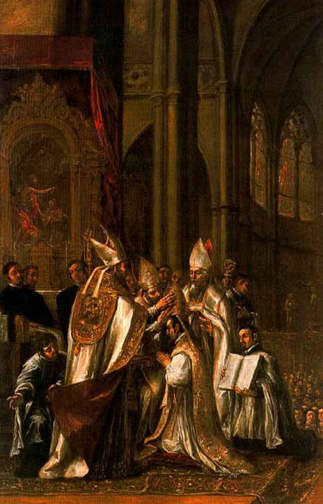 St. Ambrose ordained as Bishop. Painting by Juan de Valdés.