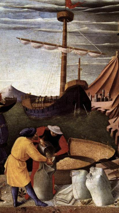 The wheat, which was requested by St. Nicholas, is being loaded into the ship.