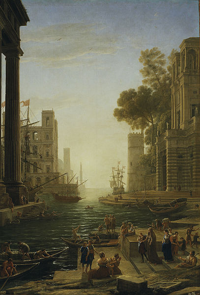 Embarkment of St Paula at Ostia. Painting by Claude Lorrain