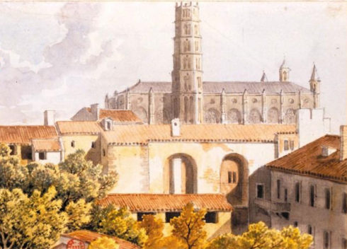 St. Thomas is buried in the Church of the Jacobins in Toulouse.