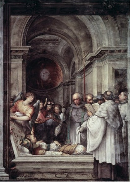 The Burial of St. Agatha. Painting by Giulio Campi