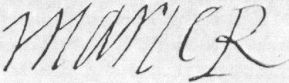 Mary Queen of Scots' signature. Marie R means Maria Regina (Queen Mary in Latin)