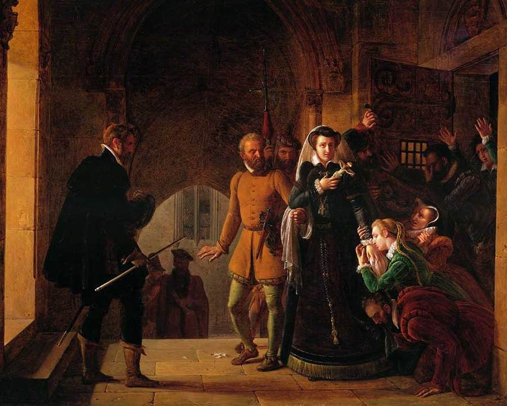 Mary, Queen of Scots is being taken to the place of execution and separated from the faithful followers who had shared her imprisonment. Painting by Pierre Révoil.