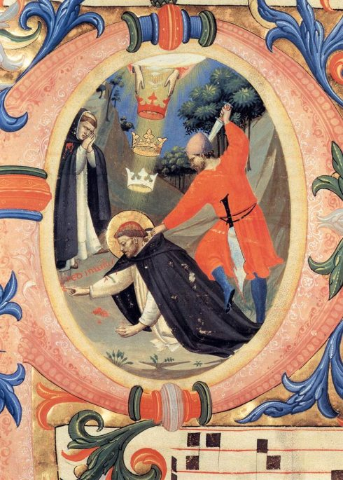 A painted illumination in a 1430 missal by Bl. Fra Angelico, depicting the martyrdom of St. Peter of Verona.