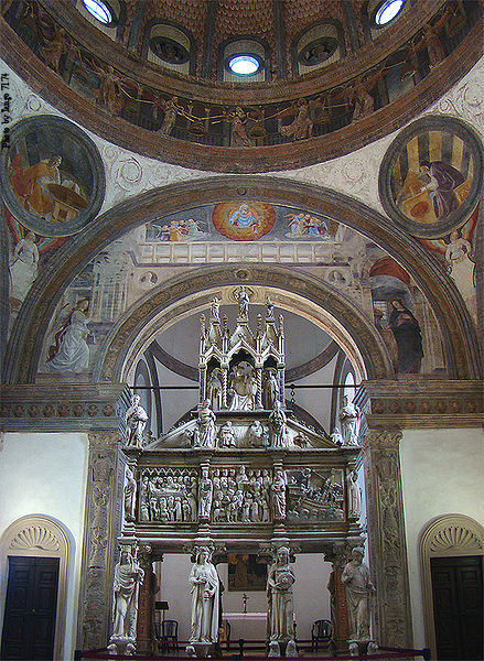 Tomb of St. Peter the Martyr at Saint Eustorgio Basilica, Milan, Lombardy, Italy, in the Portinari Chapel.