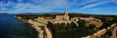 Church and monastery of the Lérins Abbey, on the island of Saint-Honorat, one of the Lérins Islands, close to Cannes, France. Photo by Afernand74
