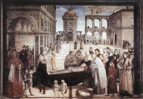 Death of St. Bernardine: Fresco Cappella Bufalini, Santa Maria in Aracoeli, Rome, painted by Pinturicchio.